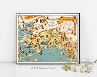 ALASKA MAP Print Digital Download - 1935 Alaska picture map - frame it - totes, pillows, prints - very fun vintage map art - home decor