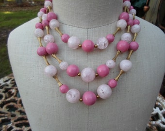Vintage Triple Strand Pink Plastic Gold Tone Chunky Bead Necklace 1950s to 1960s Adjustable