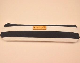 Striped canvas pencil pouch / pencil case
