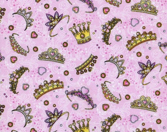 OOP HTF 33 inches Glitter Princess Fabric Collection GLITTER Sparkle Crown Tiaras Hearts Tiara on Pink