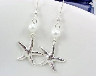 Starfish Bridesmaid Gift, Bridesmaid Earrings, pearl earrings,Starfish Beach Weddings,Bridesmaid Earring, pearl earrings,beach earrings
