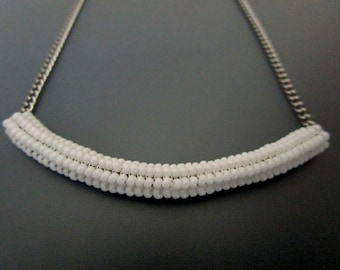 Tubular Herringbone Tube Necklace  / Thyroid Neck Scar Cover  / Beaded Pendant in White / Seed Bead Pendant / Beaded Necklace / Beadwoven