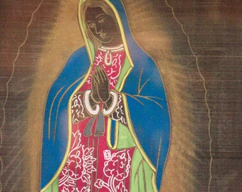 Black Holy Mary Silk Screen Print with Chinese Signature