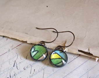 Wallpaper Glass Earrings Mismatched Jewelry