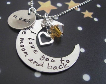 I love you to the moon and back necklace - hand stamped silver