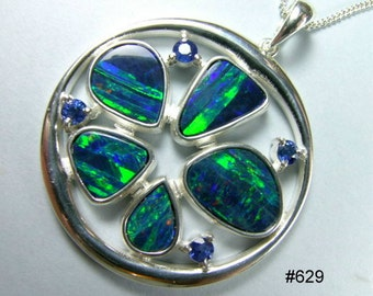 Australian opal and sapphire pendant in Argentium 935 silver