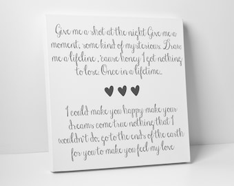 Lyric Art, First Dance, Poem, Wedding Vow Art