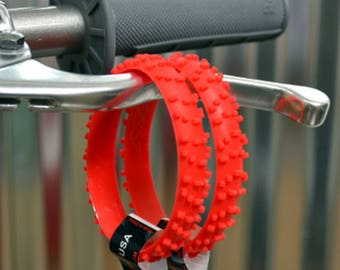 SET OF FIVE Red Knobby Dirt Bike Tire Wristbands