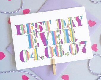 Best Day Ever Date Card – Personalised Date Wedding Card – Card for Husband – wedding card for husband wife  – wedding card for newlyweds