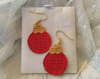 Lace Christmas Bauble Earrings