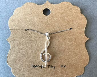 Silver Music Note Necklace - Sterling Silver