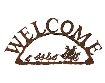 Quail Family Steel Welcome Sign
