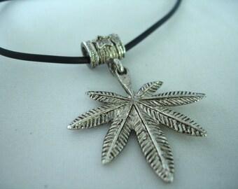 Vintage hemp leave pendant - hippie style - metal pendant - Unisex necklace - Black Cord -