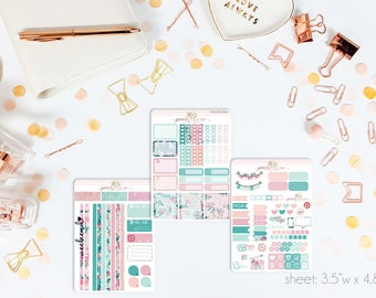 Aquamarine Darlings MINI Weekly Kit // 130+ Matte Planner Stickers // Perfect for your Personal Planner // WKM0560