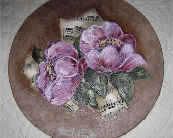oil on canvas painting with peonies