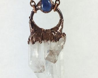 Electroformed Quartz and Tanzanite necklace