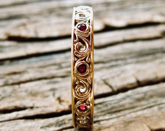 Ruby Wedding Ring in Two Tone 14K White & Yellow Gold with Detailed Scrolls Size 6