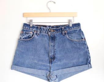 Vintage 90s Levi's Medium Blue Wash High Waisted Rise Cut Offs Cuffed Rolled Jean Denim Shorts – Size 31/32