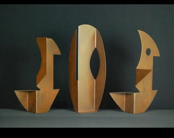 Rusty Subconscious Series Small Art Collection Metal Sculpture By Jacob Novinger  Set of Three.