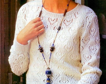 PDF knitting vintage pattern  - Summer woman sweater -