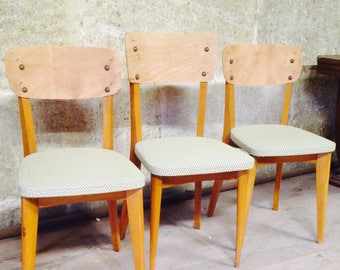 Set of 3 mismatched vintage chairs