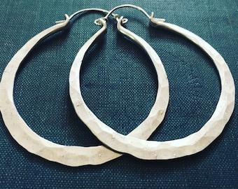 Sterling Silver Hoop Earrings / Silver Hoops / Sterling Earrings / Big Hoop Earrings / DanielleRoseBean / Large Hoops / Thick Hoop Earrings