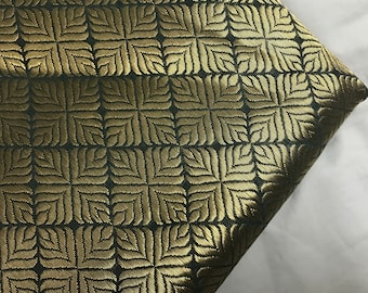 10% OFF One yard of Indian brocade fabric in grey and gold in a geometric design /home accents,costume fabric/Indian sari fabric