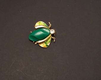 Beetle Brooch with rhinestone head goldtone