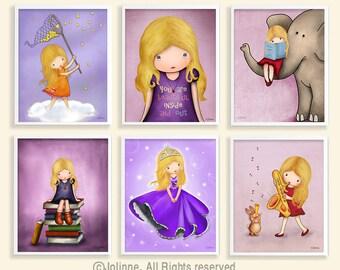Purple wall art, girls room art, nursery art, set of 6 girls wall art, kids room decor, childrens art, princess room art,purple nursery art