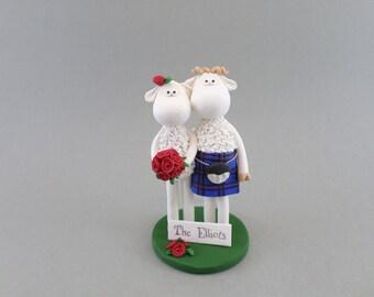 Customized Sheep Scottish Wedding Cake Topper