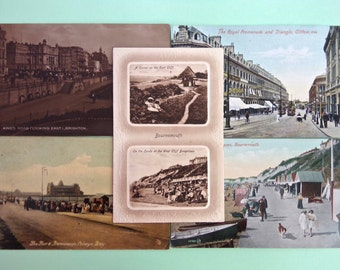 Pack of 5 Antique / Vintage Postcards of English Seaside Towns to use for Card Making, Scrapbooking, Art Journals and other Paper Crafts