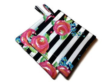 Handmade Quilted  Pot Holders set of 2 Pink  Roses Black White Stripes Potholders