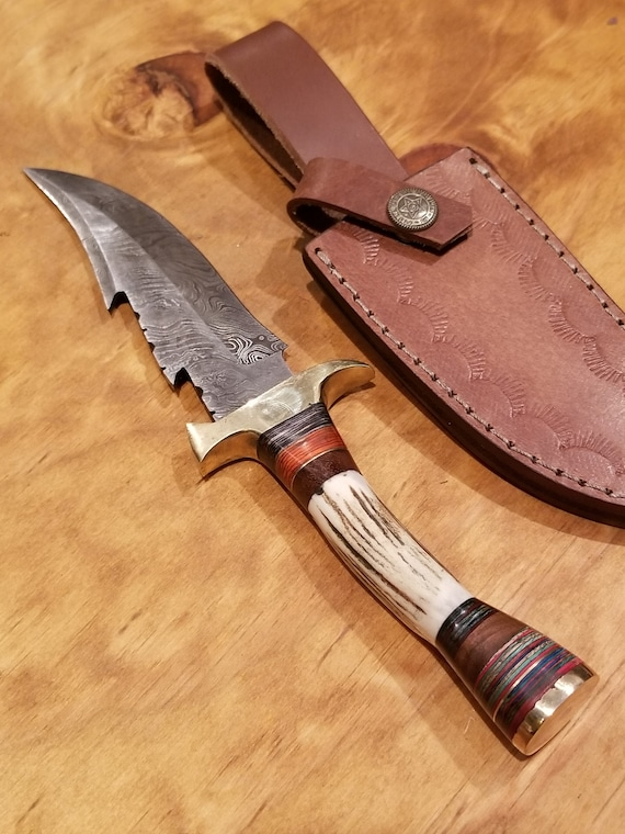 Handmade Deer Antler Handle Hunting Knife Damascus Blade Stag Horn Collection With Leather Sheath Premium Outdoors (K79)