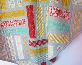 Baby quilt, baby gift, nursery decor, baby blanket, red yellow grey