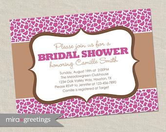 Giraffe Bridal Shower Invitation - Printable Digital File
