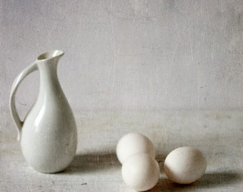 Three eggs and a pitcher - still life, Fine art photograph, print 8x8