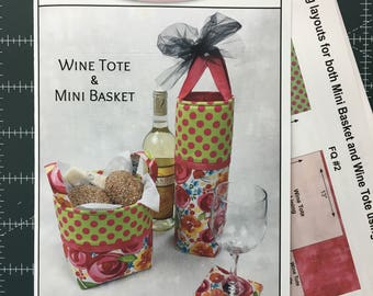 Wine Tote and Mini Basket Sewing Pattern - Paper Copy