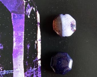 2 octagonal faceted agate beads 20mm purple dragon vein