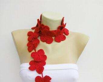 crochet flower lariat ,flower scarf ,  lariat scarf , red
