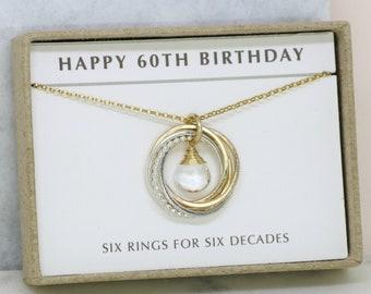 60th birthday gift, April birthstone necklace 60th, rock crystal necklace for 60th birthday, gift for wife, mom - Lilia