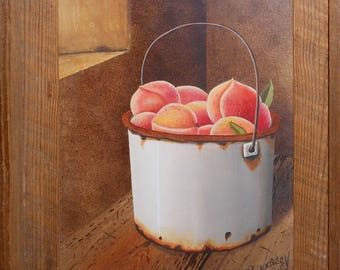vintage peach oil painting harvest window sill signed