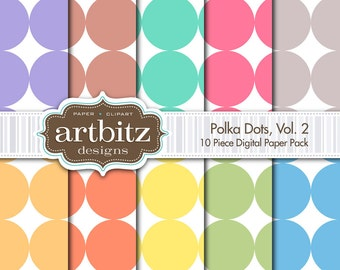 "Polka Dots Vol. 2, 10 Piece Digital Scrapbooking Paper Pack, 12""x12"", 300 dpi .jpg, Instant Download!"