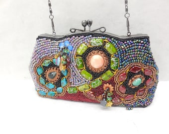 Ohh Ashley Beaded Embellished Sequin Chain Clutch Chain Link Purse