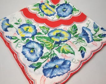Lovely Blue Morning Glory Handkerchief with Red Rolled Scalloped Edges,  Spring Hanky