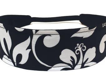 Tropical Floral Women's Headband - Reversible Fabric Headband - Black, White, Hawaiian Floral - TROPICAL BLACK FLORAL