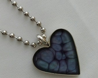 Violet, Emerald & Eggshell Silver Plated Heart