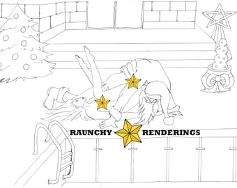 The pool may be drained, but Santa isn't! This Colouring page shows Santa's naughty side.