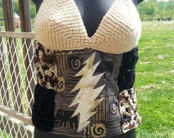Patchwork and crochet grateful dead lightening bolt shirt (made to order)