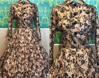 Vintage 1950s Dress - Gold Silk Party Dress with Black Abstract Roses - M