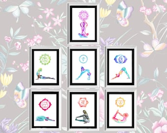 7 prints from the 2018 Chakra collection: Seven Chakras, seven Yoga Asanas. SIZE 8x11.5 inches Paper 160gr acid free. Yoga gift, Chakra gift